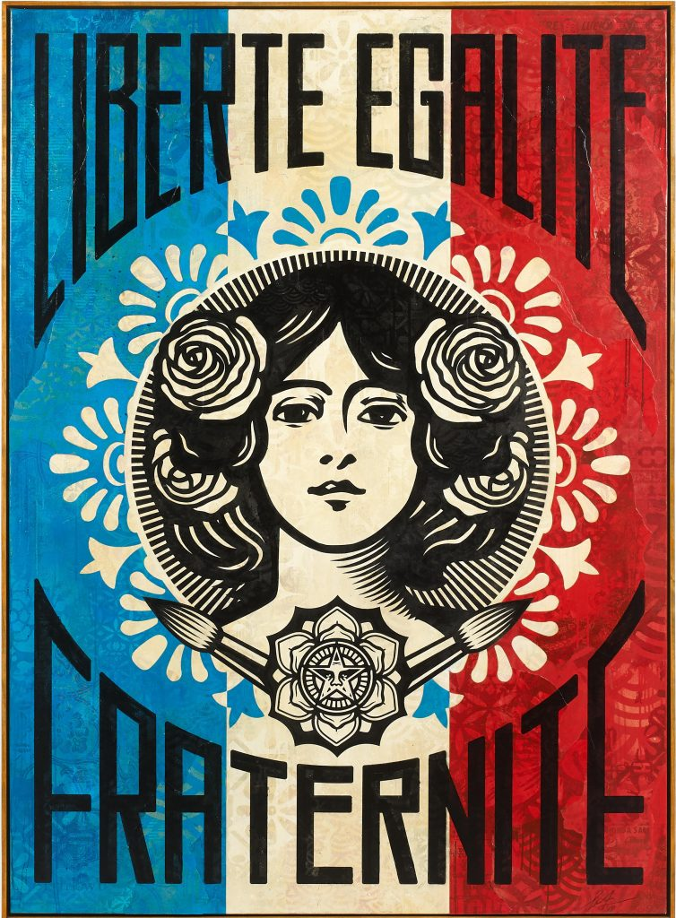 Shepard Fairey created the Liberté, Egalité, Fraternité image in November 2015 as a response to the Bataclan attacks. He painted it twice on canvas. The first hangs in French President Emmanuel Macron's office. The second set a world auction record for the artist.