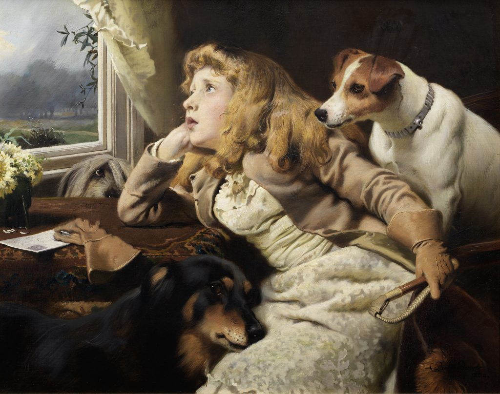 Only a Shower, an 1884 painting by Charles Burton Barber, shows a girl slumped in sadness, staring out the window at the weather that has cancelled her plans. A trio of dogs attend her. The painting could sell for $220,000.