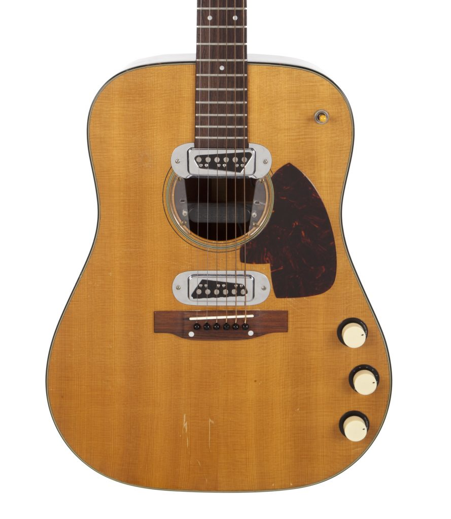 A detail shot of the vintage 1959 Martin belonging to Kurt Cobain that shows the body of the guitar.