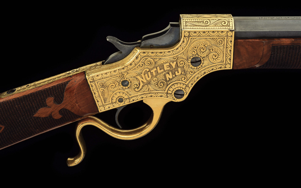 Annie Oakley and her husband would have just moved into a custom-made home in Nutley, New Jersey when this gun was made. The Stevens company marked the occasion by giving her this single-shot rifle.