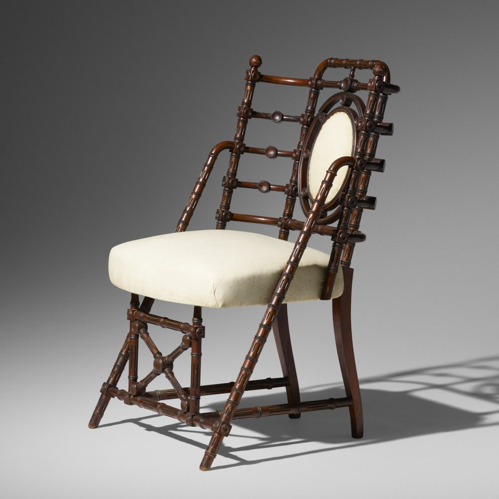 A remarkable chair fashioned by German-American furniture maker George Hunzinger in 1869. It could sell for $1,500.