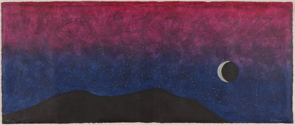 Galaxia, a monumental 1977 print by the late Mexican artist Rufino Tamayo, depicts a gorgeous, constellation-bedecked night sky that fades from magenta to royal purple.