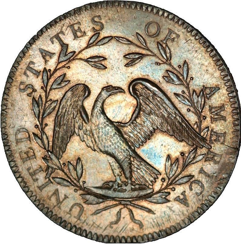 The back side of the 1794 silver dollar features a spread-winged eagle. This particular example of the coveted coin sold for slightly more than $10 million in 2013, setting a world auction record for any coin.