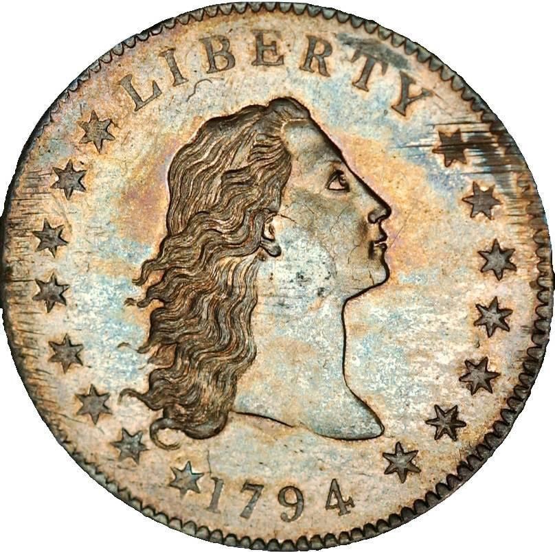 "The front of a 1794 ""flowing hair"" sliver dollar, so called because of the luxuriant locks on Liberty's head. The coin sold for just over $10 million in 2013, setting a world auction record for any coin."