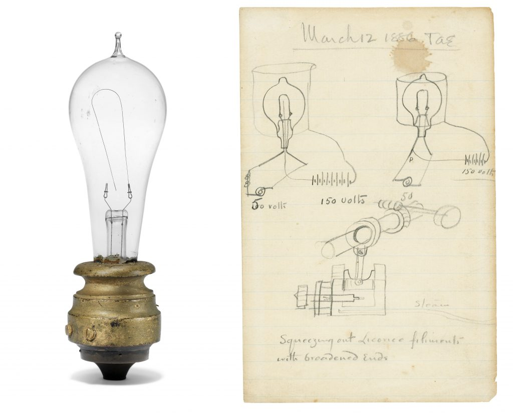 A set of Thomas Edison design drawings for the light bulb, dated March 1886 and paired with a period light bulb, could sell for $110,000 or more at Christie's.