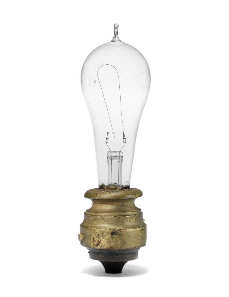 A nearly complete Edison light bulb comes with the lot. It's believed to date to late 1880 or early 1881.