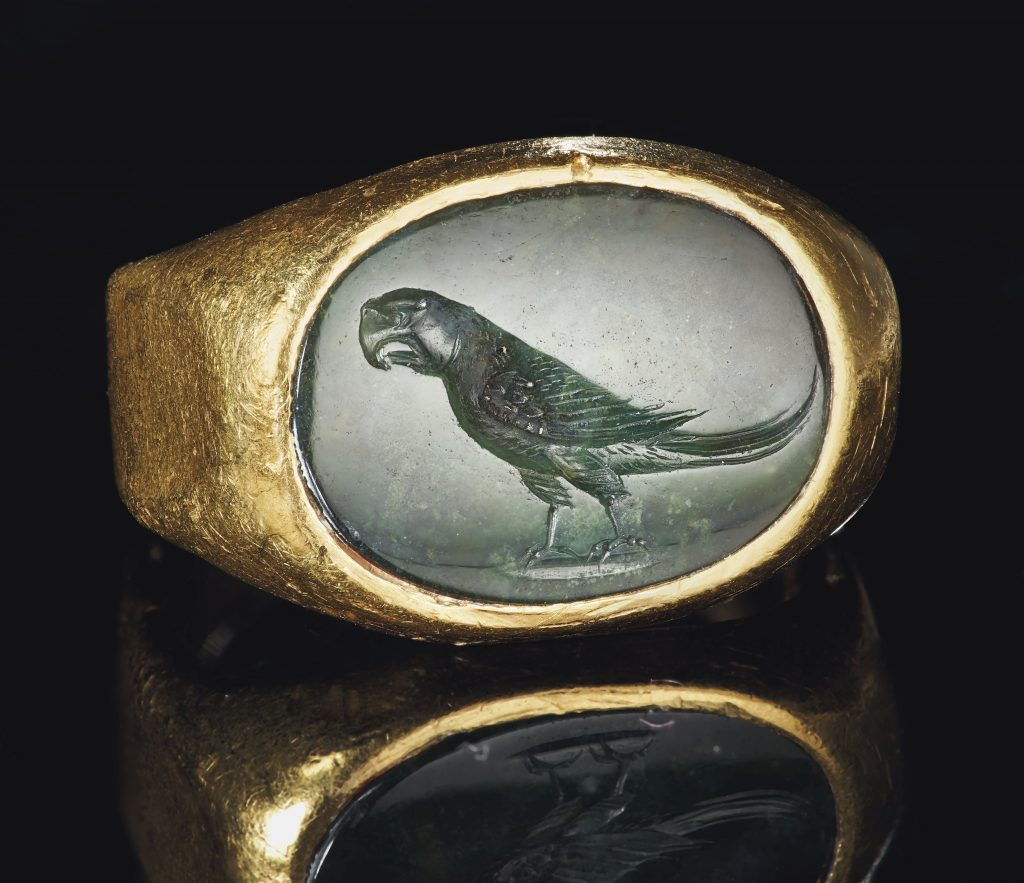 An ancient Roman ring, featuring a green chalcedony carved with the image of an Indian Ringneck parrot could command $15,000.