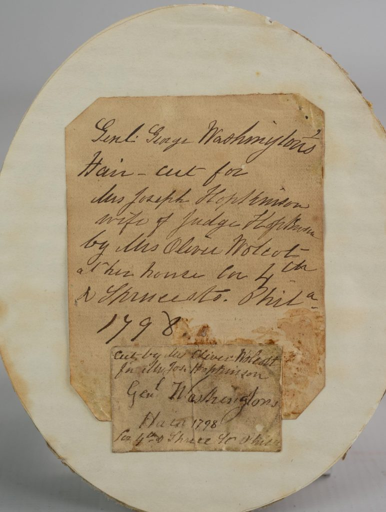 These handwritten provenance notes detail when, and for whom, the lock of George Washington's hair was taken. It's unclear when the notes were written, or which member of the Hopkinson family wrote them.