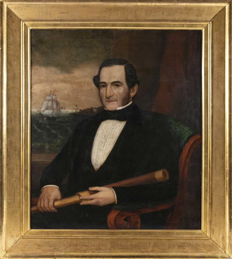 A Joseph Whiting Stock portrait of an unknown sea captain, painted around 1847 in New Bedford, Massachusetts, could fetch $15,000. The captain is shown seated in a fashionable Empire chair and holding a telescope. A window behind him looks out on a harbor.