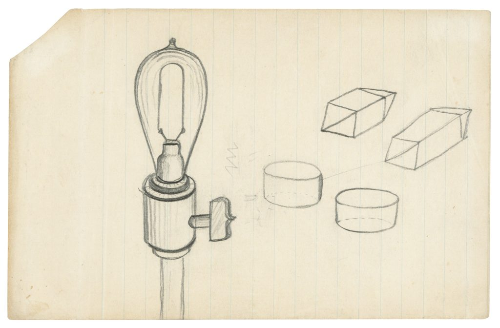 Yet another light bulb-related drawing from the group of Thomas Edison documents.