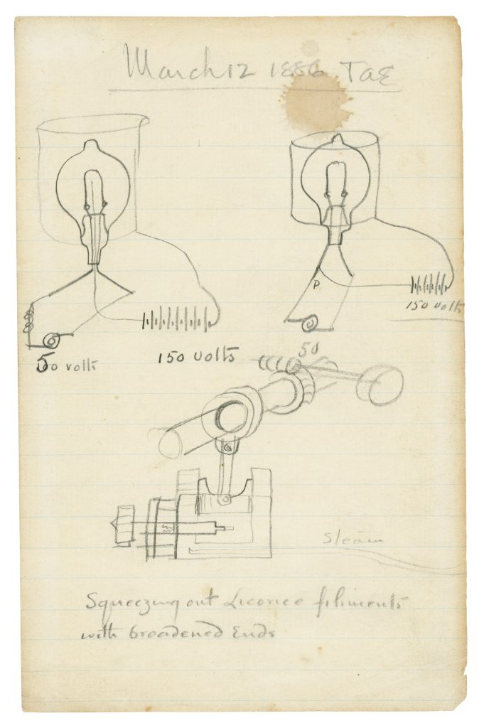 One of the pages of design drawings reflects a date of March 12, 1886. Edison was honeymooning with his second wife at the time.