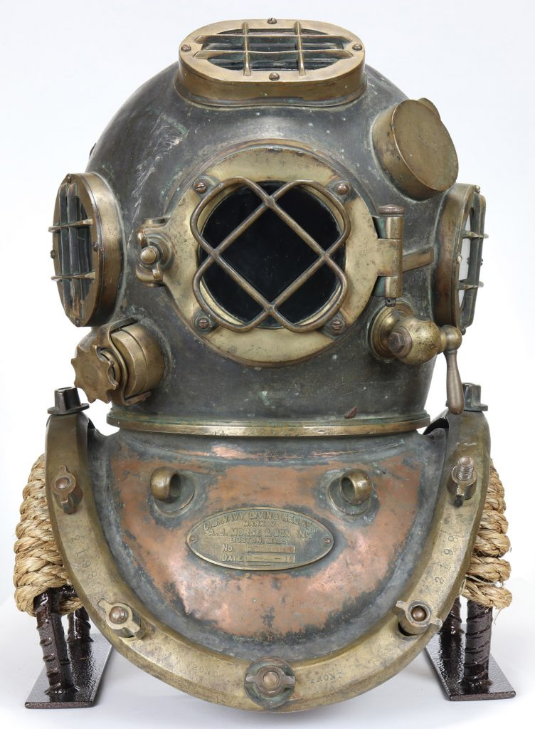 A U.S. Navy Mark V diving helmet from 1916, the earliest example known. Nation's Attic could sell it for $40,000 or more.