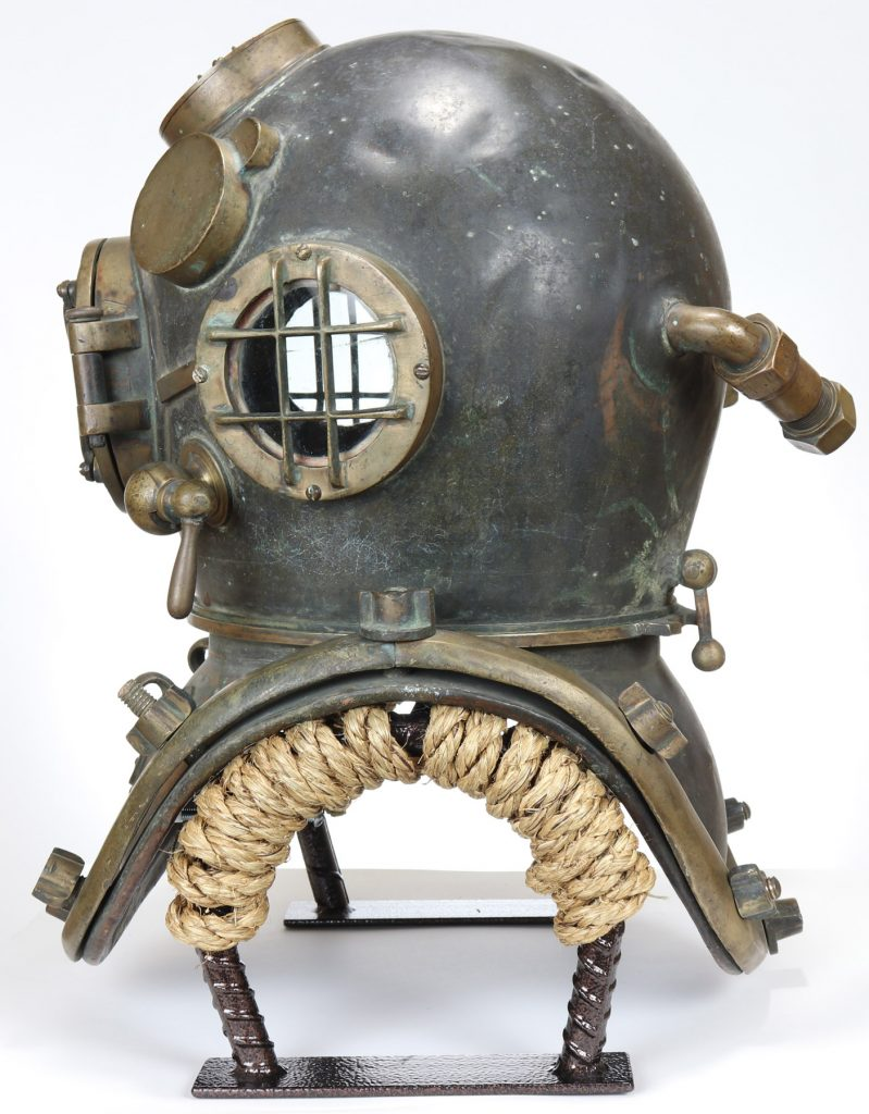 A profile view of the 1916 U.S. Navy Mark V diving helmet. Don Creekmore of Nation's Attic believes it could set a new world auction record for an antique diving helmet.