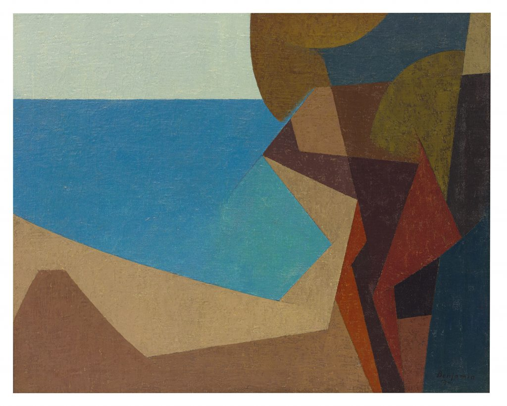 Laguna Seascape II, a 1954 painting by the late Karl Benjamin, could sell for $50,000 or more at LAMA.