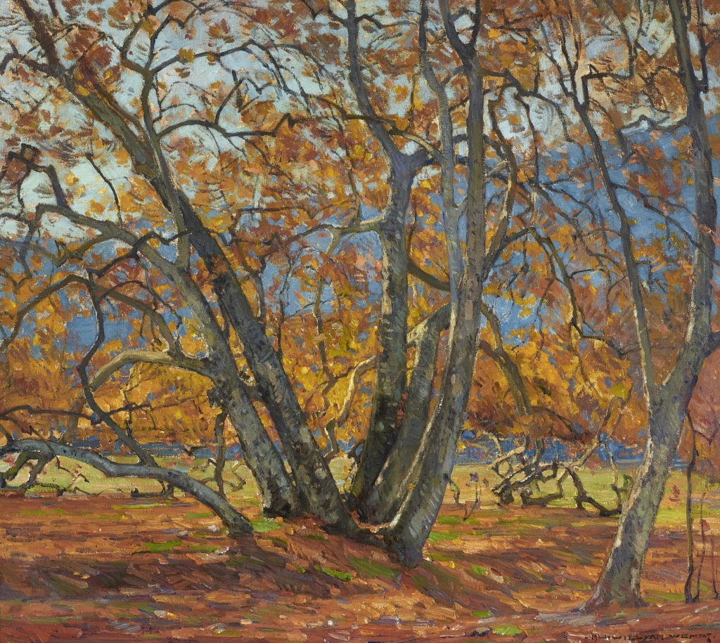 Flickering Light, a 1921 landscape painting by California plein-air master William Wendt, could fetch $80,000.