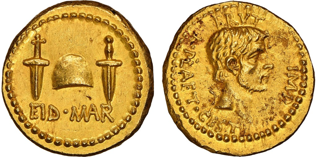 A gold Eid Mar coin, issued by Brutus in 42 B.C.E. It could sell for $500,000 or more.