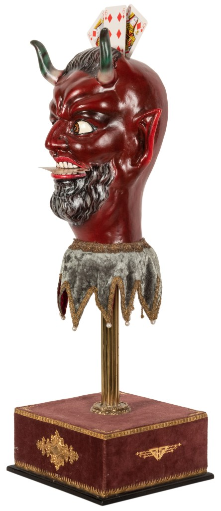 Deutsch created the demon head out of papier-mâché, and installed levers that control the eyes, the mouth, and other elements.