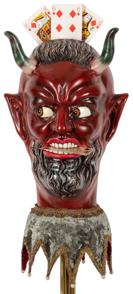 A circa 2000 replica of a Victorian era demon's head card trick device, created by the late Rüdiger Deutsch. It could sell for $6,000 or more.