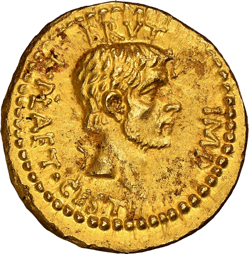 Co-conspirator Brutus issued this gold Eid Mar coin and had his profile depicted upon it.