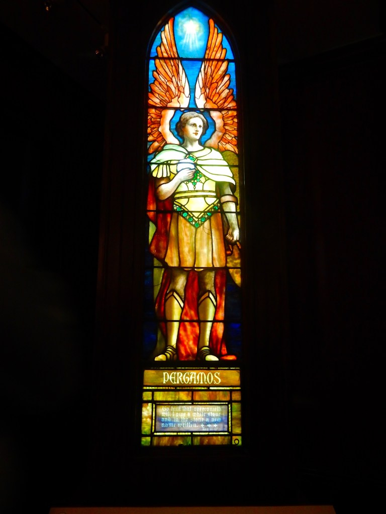 The Pergamos window, one of seven Tiffany windows from the Angels Representing Seven Churches set, created in 1902.