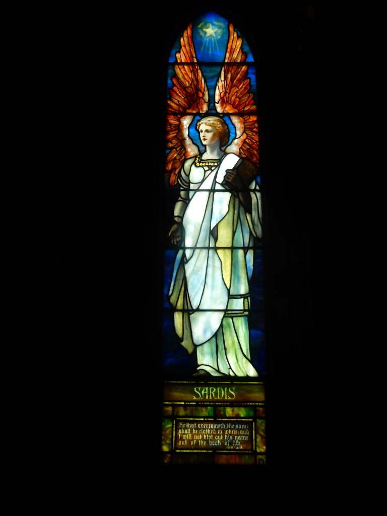 The Sardis window, one of seven Tiffany windows from the Angels Representing Seven Churches set, created in 1902.
