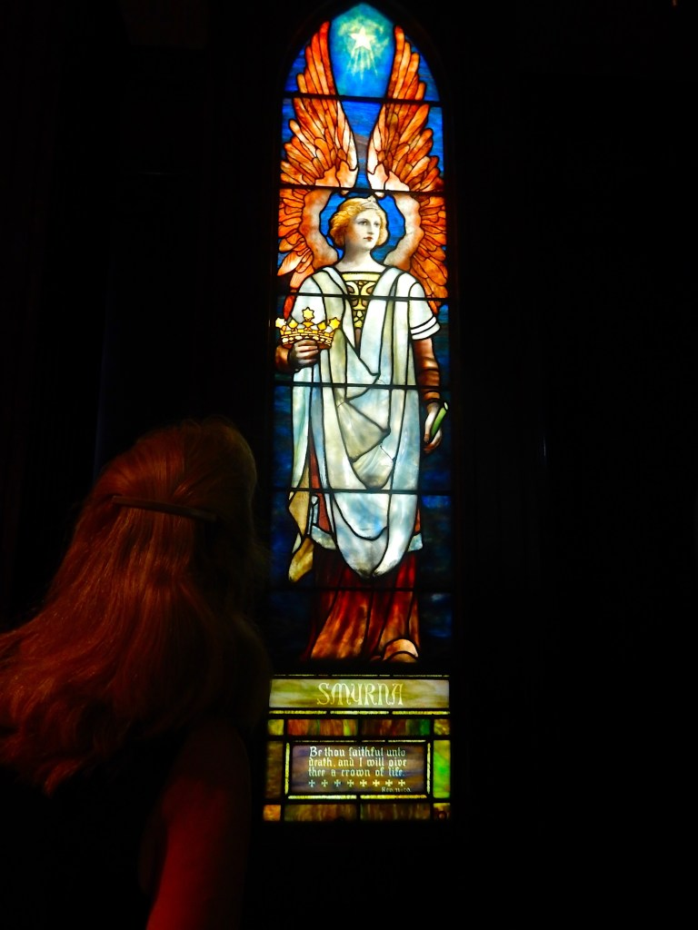 The Smyrna window, one of seven Tiffany windows from the Angels Representing Seven Churches set, created in 1902.