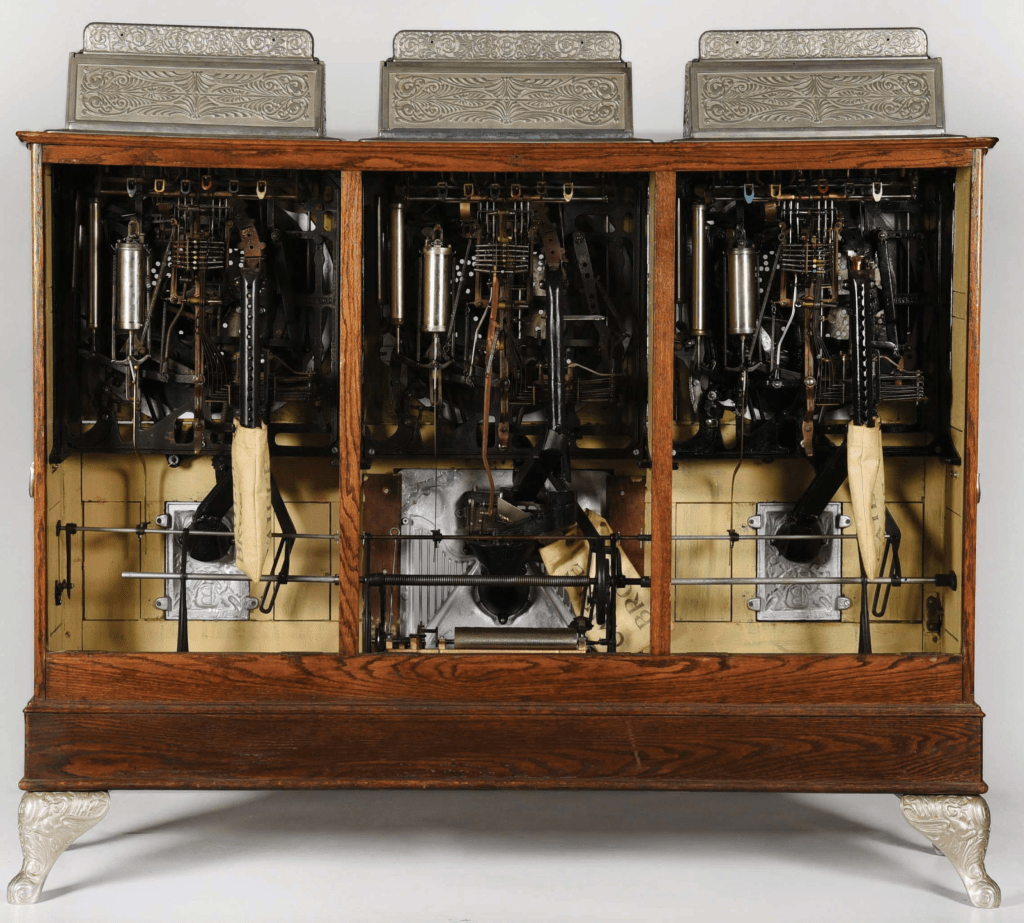 The mechanisms in the triple Caille are all-original, including the coveted music box (which is not visible in this image).