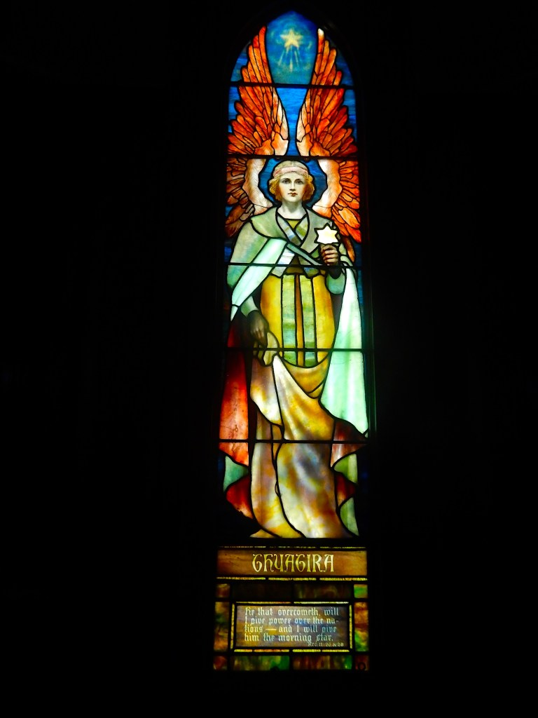 The Thyatira window, one of seven Tiffany windows from the Angels Representing Seven Churches set, created in 1902.