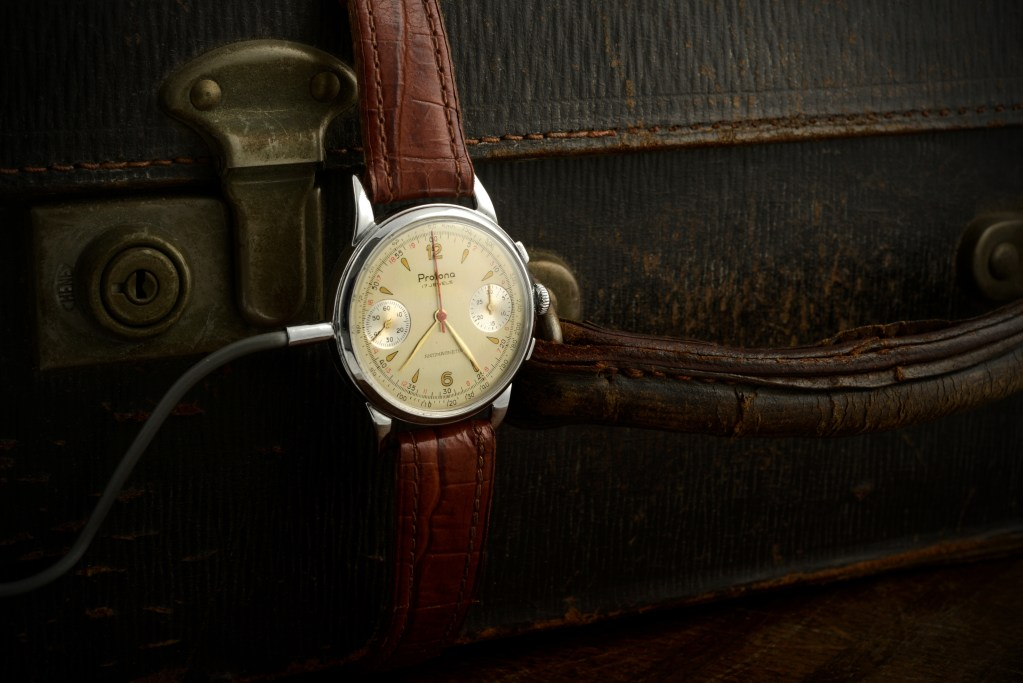 Though its wire is comically obvious to us now, the Protona Minifon Mi-51 watch appeared in the mid-1950s, well before the debut of the first James Bond movie.