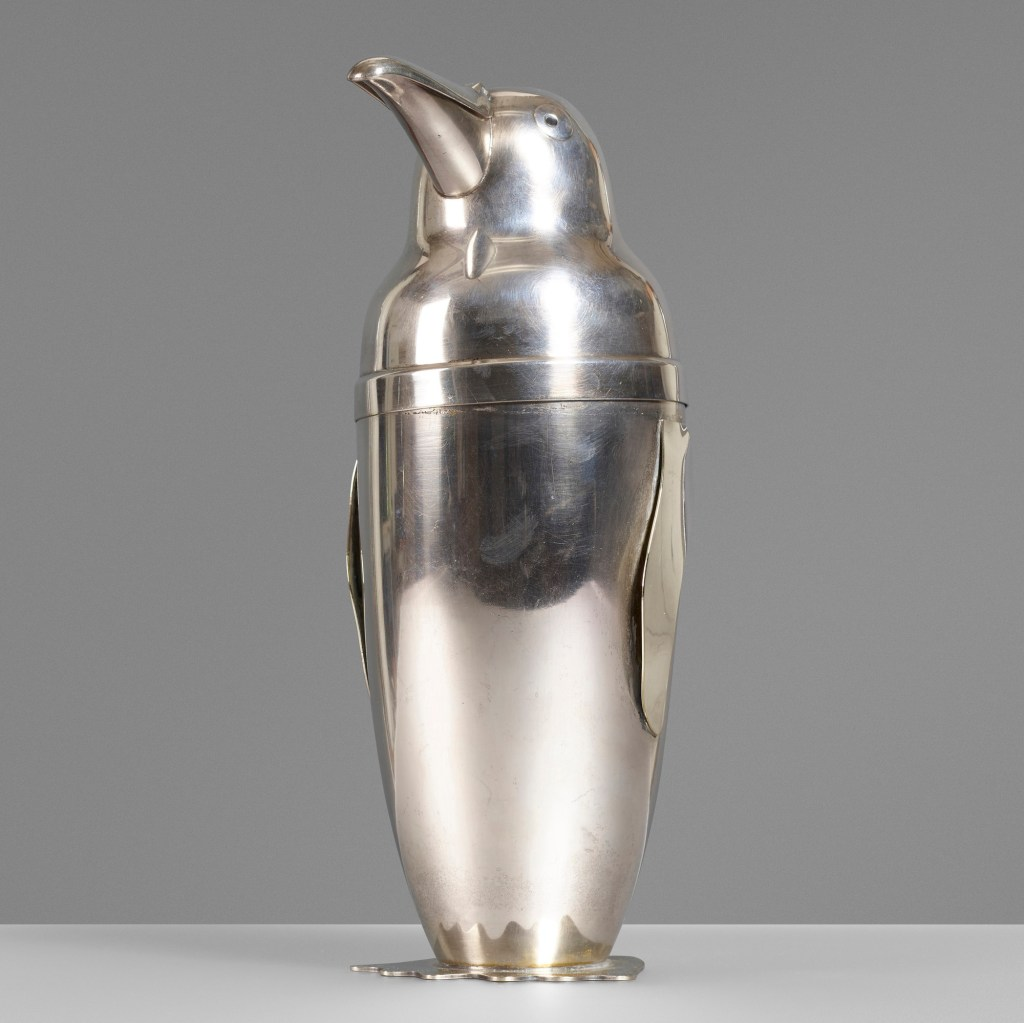 A vintage penguin cocktail shaker, designed by Emil Schuelke for Napier Company in 1936, could sell for $3,500.