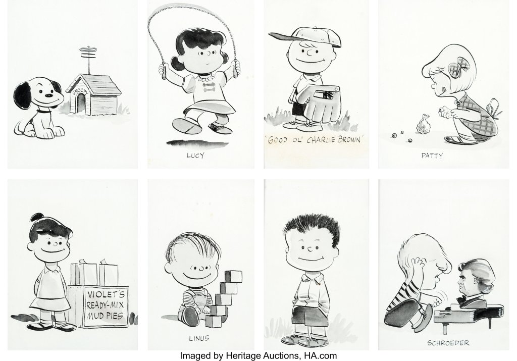 A group of eight character portraits of the leads of Peanuts as of 1953, drawn by Charles Schulz for a promotional brochure. Offered as a collection of original Peanuts artwork, it could sell for $100,000 or more.