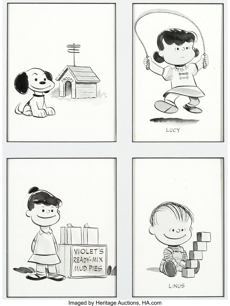This quartet of Peanuts portraits shows a still-doglike Snoopy and a young Linus who has yet to acquire his iconic security blanket.