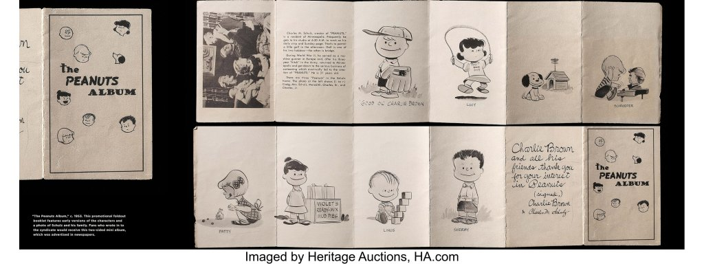 Schulz created the original Peanuts artwork for a promotional brochure for the syndicate that distributed his strip to newspapers.