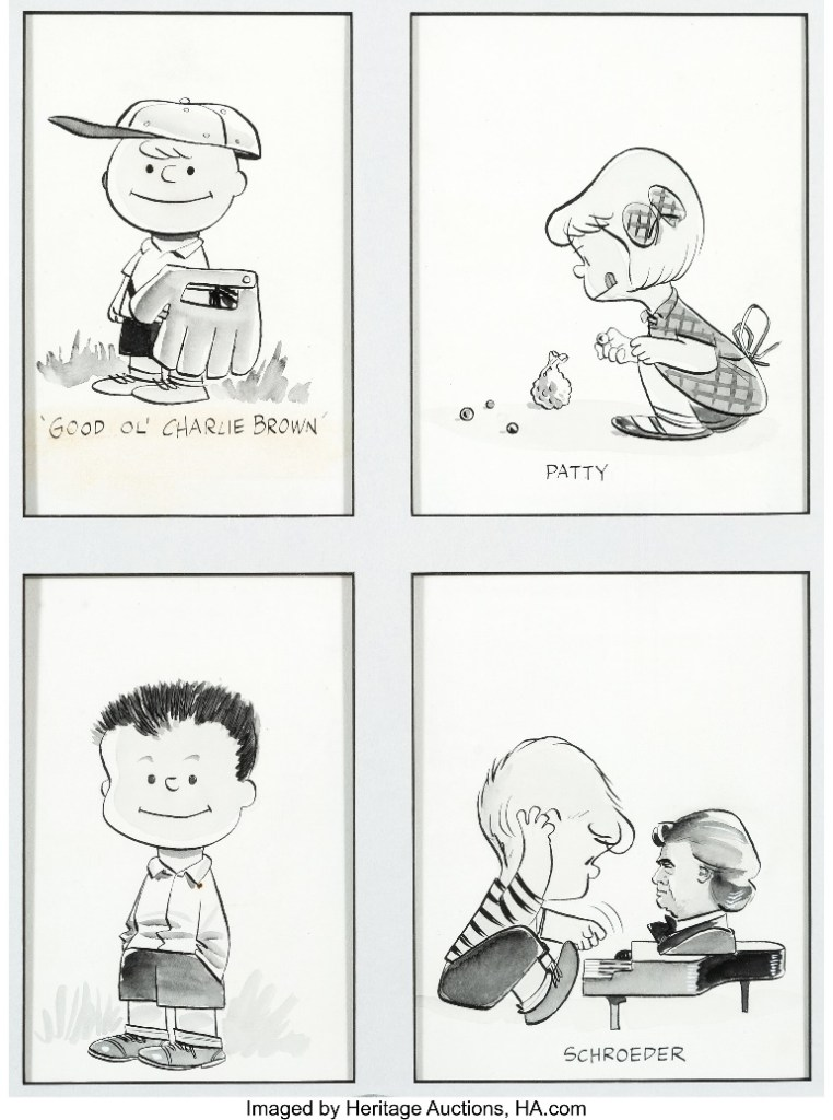 The original Peanuts artwork captures Good ol' Charlie Brown, ready to pitch a baseball game, and shows that Schroeder, his team's catcher, had already acquired his penchant for playing the piano.
