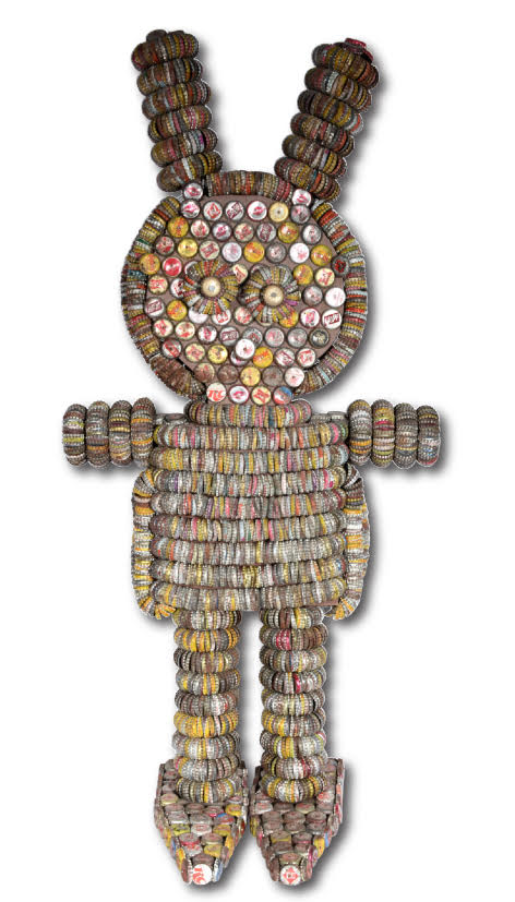 A Woolsey bunny figure, made from bottle caps applied to a wooden frame by Iowa folk artists Clarence and Grace Woolsey. This piece could sell for $6,000 at Slotin Folk Art Auction.