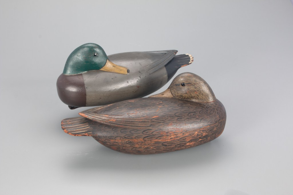A pair of Jess Heisler duck decoys, carved in the form of sleeping mallards around 1920, could fetch $30,000.