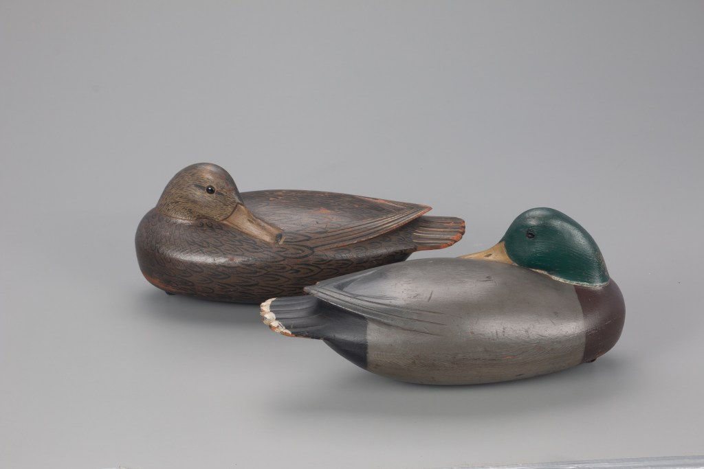 Unlike other vintage rigs of duck decoys, this Jess Heisler drake-and-hen pair have avoided divorce.