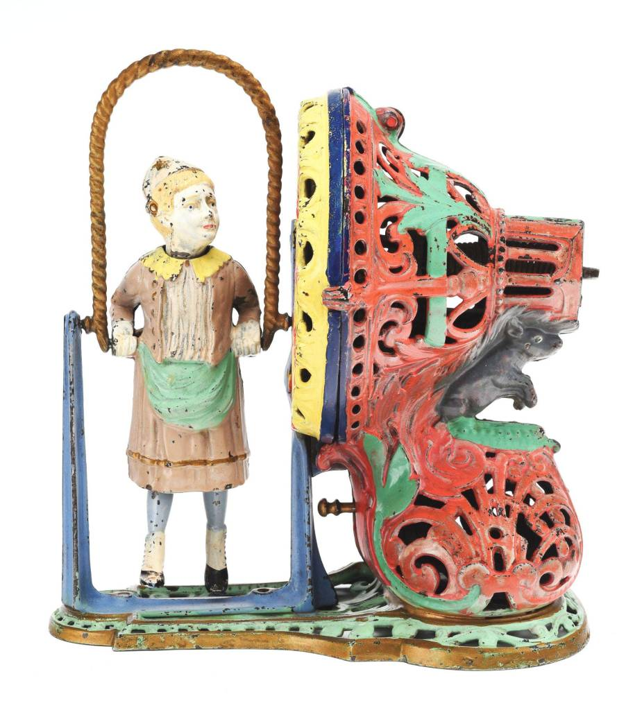 A mechanical bank in the form of a girl skipping rope could command $90,000 at Morphy Auctions.