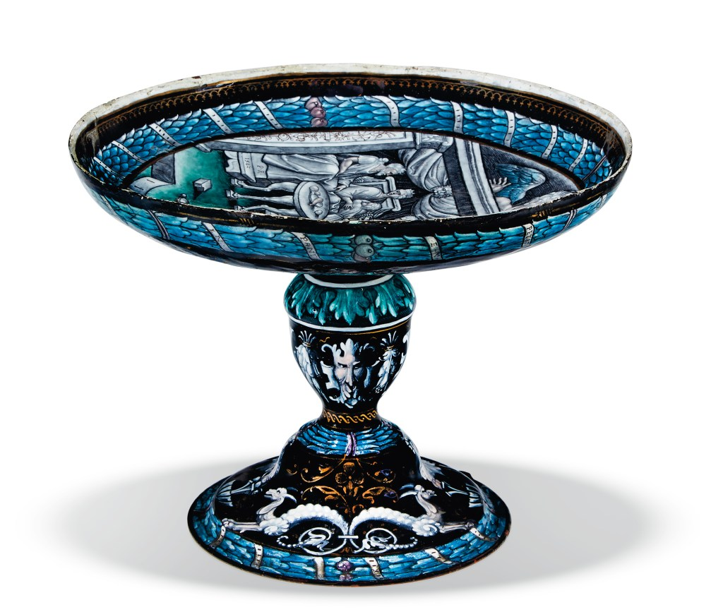 The Limoges enamel tazza is rendered in a cool palette that includes grisaille, or greys.