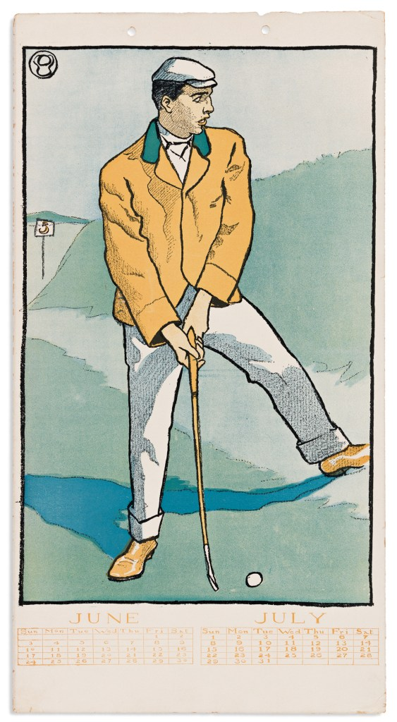 The June/July 1900 page from a golf-themed calendar illustrated by Edward Penfield. It could fetch $12,000.