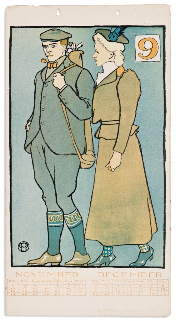 Check out the socks on the couple in the November/December 1900 page from the Penfield golf calendar.
