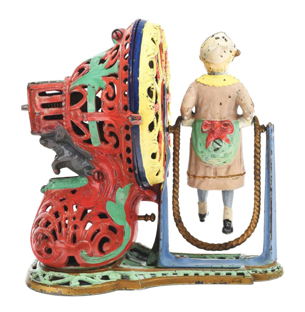A rear view of the girl skipping rope mechanical bank.