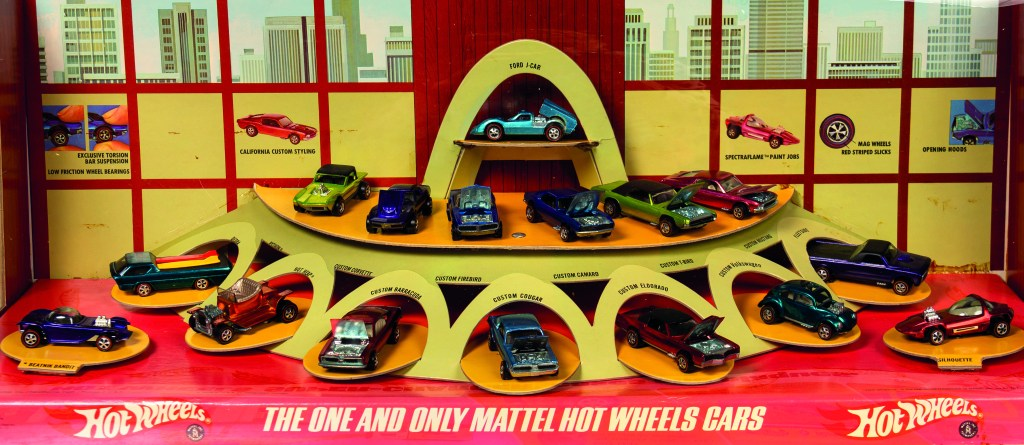 A close-up on the Hot Wheels store display, which was designed to look like a dealer showroom.