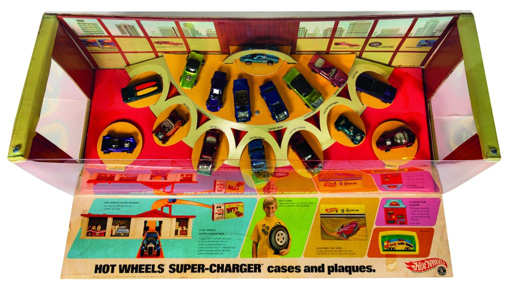 This overhead shot of the 1968 Hot Wheels store display gives the best angle on the all-important advertising flap, which most examples lack.