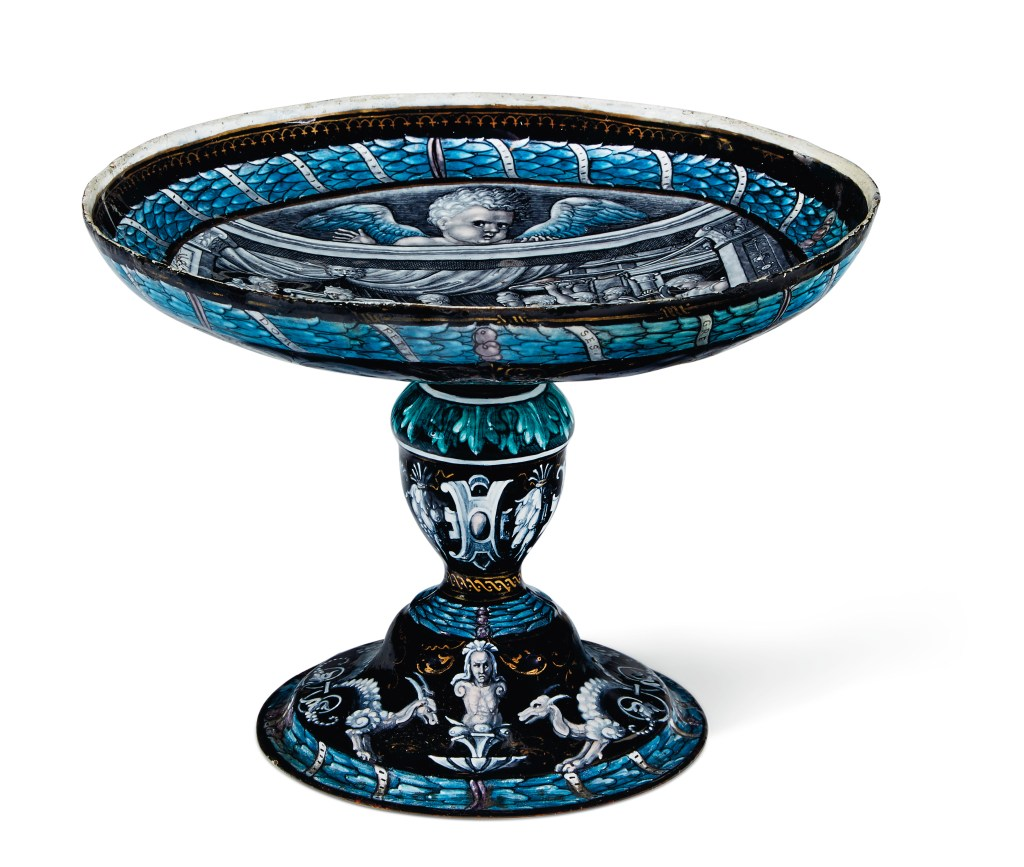 A Limoges enamel tazza, initialed by Pierre Reymond and dated 1542, could sell for $30,000.