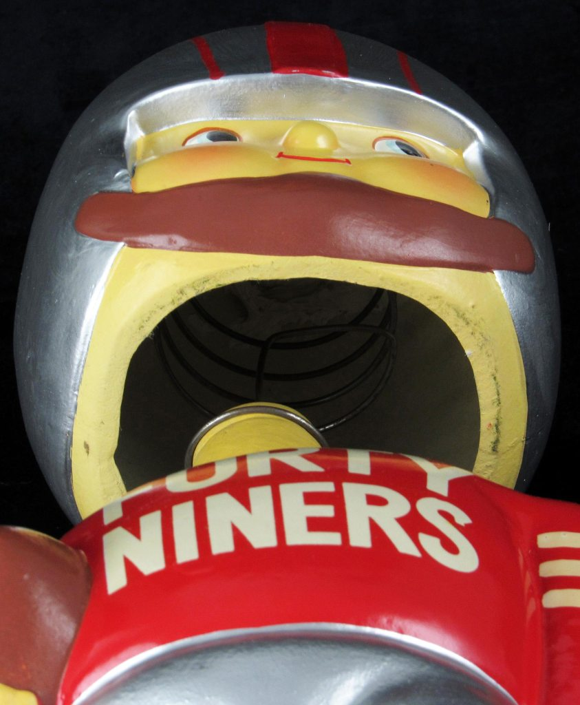 Detail shot of the jumbo NFL bobblehead to show its interior spring.