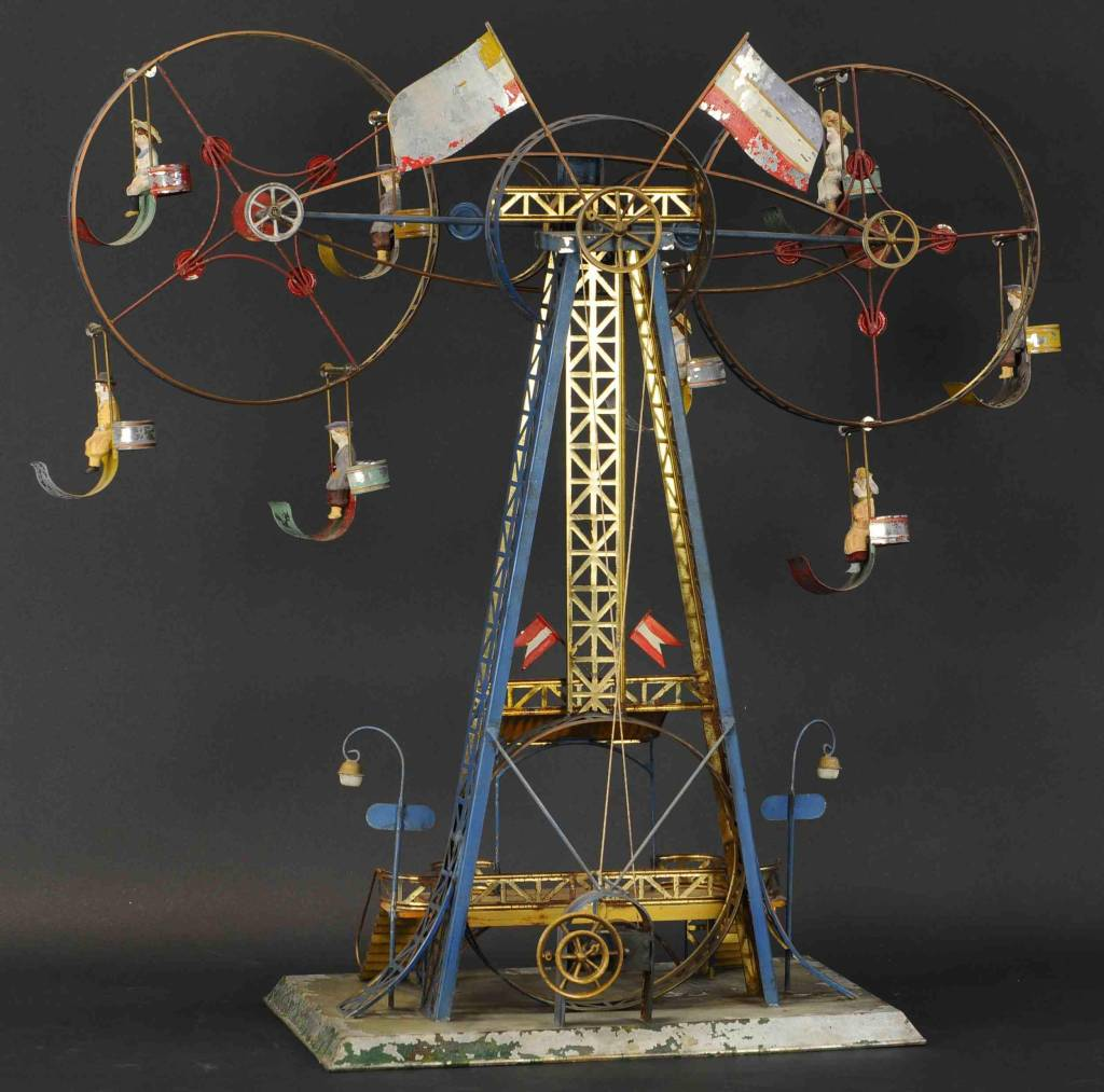 The double Ferris Wheel toy, shown from the rear, where the steam-driven toy would connect to a separate alcohol-powered steam engine.