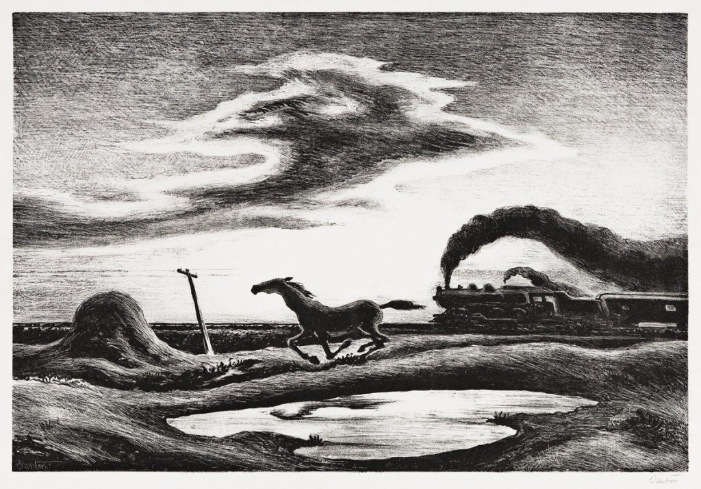 "A 1942 Thomas Hart Benton lithograph dubbed ""The Race"", based on an original Benton oil painting known as ""Homeward Bound"". The print could sell for $15,000."