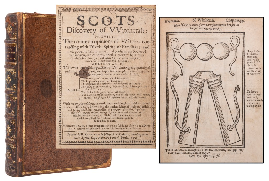 A 1651 second edition copy of Reginald Scot's The Discovery of Witchcraft could sell for $12,000.