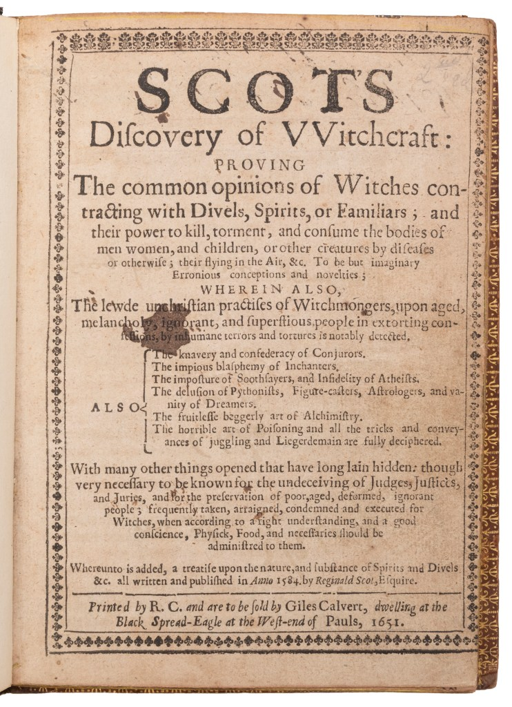 First published in 1584, Scot endeavored to explain that seemingly supernatural phenomena were in fact entirely natural.